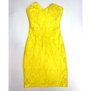 bebe yellow lace dress